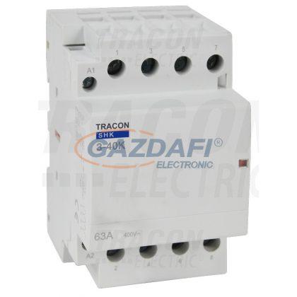 TRACON SHK3-40 Installációs kontaktor 230V AC, 50Hz, 3 Mod, 3×NO, AC1/AC7a, 40A