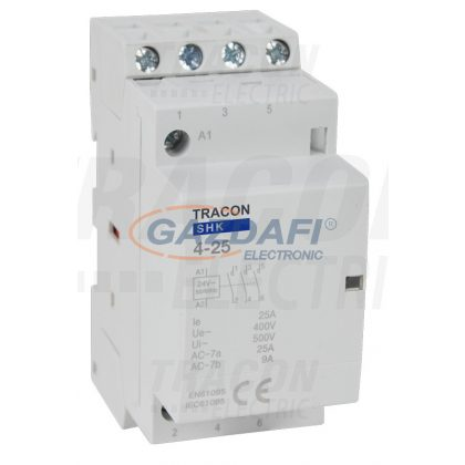 TRACON SHK4-25 Installációs kontaktor 230V AC, 50Hz, 2 Mod, 4×NO, AC1/AC7a, 25A