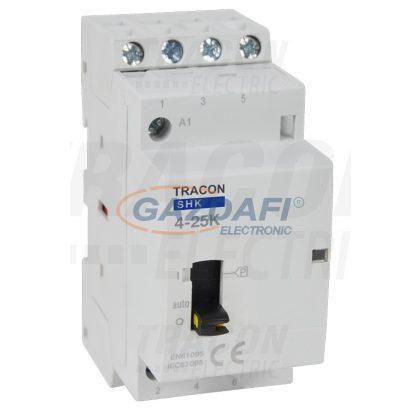 TRACON SHK4-25K Installációs kontaktor 230V AC, 50Hz, 2 Mod, 4×NO, AC1/AC7a, 25A