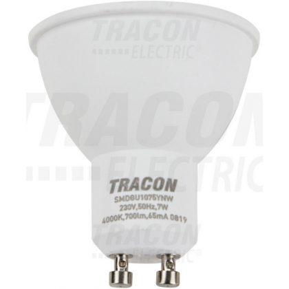 TRACON SMDGU1075YNW Műanyag házas SMD LED spot fényforrás 230 VAC, 50 Hz, GU10, 7 W, 700 lm, 4000 K, 120°, EEI=A+