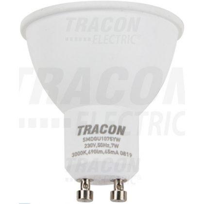 TRACON SMDGU1075YW Műanyag házas SMD LED spot fényforrás 230 VAC, 50 Hz, GU10, 7 W, 690 lm, 3000 K, 120°, EEI=A+