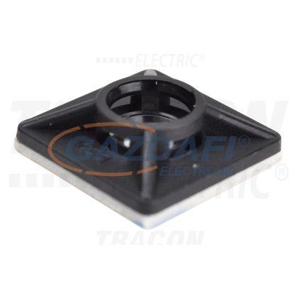 TRACON TALP201 Öntapadós/csavarozható, 4oldalt fűzhető kötegelő talp,fekete 19×19mm, PA6.6, 3M