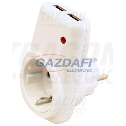 TRACON USBD Csatlakozóaljzat adapter 2 dbUSB porttal, fehér 85-265 VAC 50/60 Hz; USB: 5 VDC, max. 2,1 A