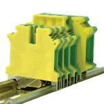 TRACON védővezető ipari sorozatkapocs, csavaros, sínre, zöld/sárga 0,2-2,5mm2, 32A
