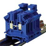 TRACON TSKA4-K Nullavezető ipari sorozatkapocs, csavaros, sínre, kék 0,2-4mm2, 800VAC, 41A