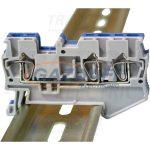 TRACON TSKB2/3K Háromkapcsos ipari sorozatkapocs, rugós, sínre, kék 0,2-2,5mm2, 800VAC, 31A