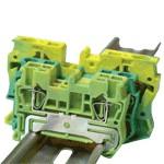 TRACON TSKB4JD Védővezető ipari sorozatkapocs, rugós, sínre, zöld/sárga 0,5-4mm2, 41A