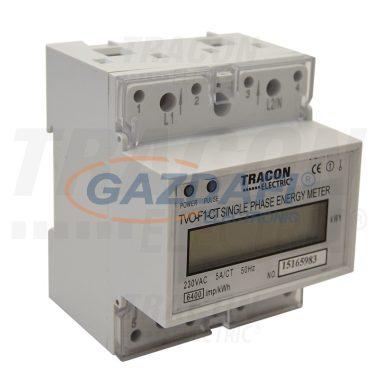 TRACON TVO-F1-CT LCD kijelzésű egyfázisú áramváltós fogyasztásmérő 230V / 5 A Pd=1W