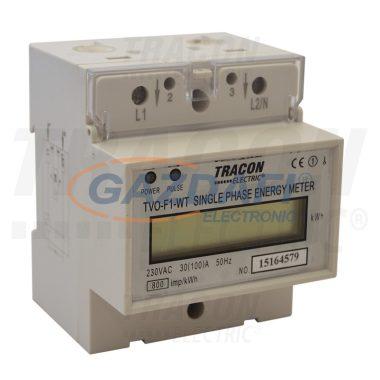 TRACON TVO-F1-WT LCD kijelzésű 1 fázisú átfűzős fogyasztásmérő, közvetlen 230V / 30 (100) A Pd=1W