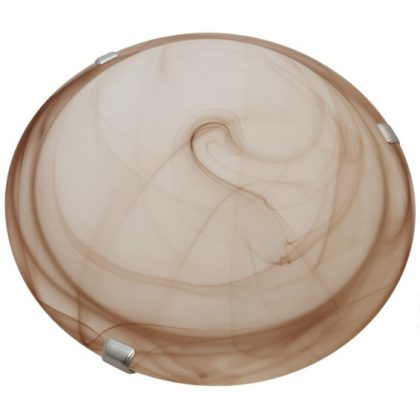 TRACON UFO-2-B Üveg mennyezeti UFO lámpatest, bézs 230V, 50Hz, E27, max.2×60W, D=300 mm, EEI=A++,A+,A,B,C,D,E