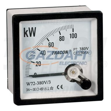 TRACON W96-400V-4 Hatásos teljesítménymérő, 3 fázisú, 4 vezetékes