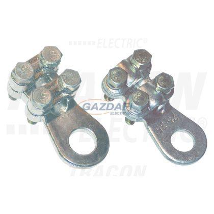 TRACON WCJB-50-70 Csavarozható réz lemezsaru, 4 csavarral 50-70mm2, M10, 4x(M6x24)
