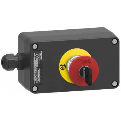 SCHNEIDER XAWG188EX ATEX D tokozott vészleállító, gombafejű 40mm, kulccsal oldható, műanyag, 2NC, piros