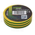 TRACON ZS10-15 Szigetelőszalag, zöld/sárga 10m×15mm, PVC, 0-90°C, 40kV/mm